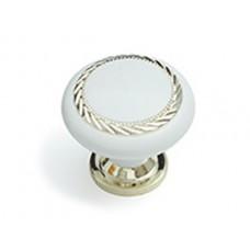 Ручка кнопка Алди золото/белая пл К4