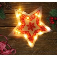 """Декор звезда с  гирляндой """"Самого лучшего года!"""", 25 х 23,8 см   3557126"""