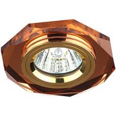 Спот ERA MR16 DK5 GD/BR декор стекло многогран коричнев/золото