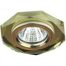 Спот ERA MR16 DK5 GD/YL декор стекло многогран зерк золото/золото