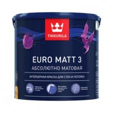Краска EURO МАТТ-3 интерьерная 2,7л. Тиккурила