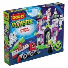 """823 Конструктор  средний дом с привидениями, машиной-пушкой и 2-мя охотниками """"Monster blocks"""""""