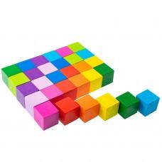 Деревянные кубики Цветные 30 штук 1-45