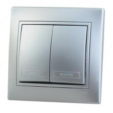 Выкл. Lezard mira 2кл.с/у металлик серый прох.701-1010-106