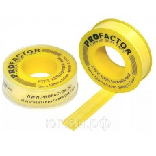 Лента ФУМ PROFAKTOR газ желтая 12 мм*12 м.п.