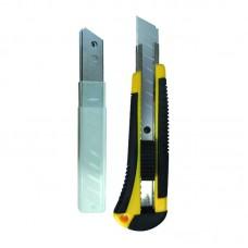 Нож строительный усиленный 18мм пластиковый корпус(+3 лезвия) Бибер