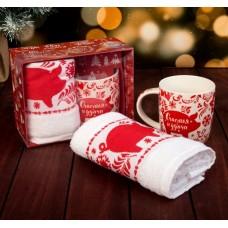 Подарочный набор Счастья и удачи кружка350мл+полотенце 30*70см 3889879