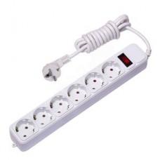Сет. фильтр EKF PROxima 6гн 3м с/з 10А/2,2кВт с выкл. ПВС 3*0,75