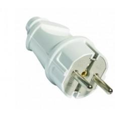 Вилка Smartbuy прямая c/з евро белая 16А SBE-16-P01-W