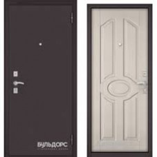 Дверь метал.Бульдорс Econom3 860х2050L Левая Букле Шоколад Хром/Ларче Бьянко Е-102