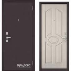 Дверь металлическая Бульдорс Econom3 860х2050R Правая Букле Шоколад Хром Ларче Бьянко