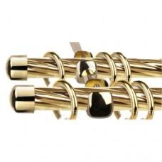 Карниз круглый Твистер 2-х рядный составной Металл ЛЕ-ГРАНД d16мм 2,4м Золото Глянец