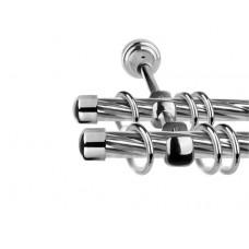 Карниз круглый твистер 2-х рядный составной Металл ЛЕ-ГРАНД d16мм 2,4м Хром глянец