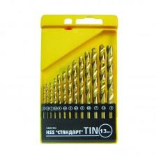 Набор сверл по металлу TIN  Стандарт 2,0-8,0 мм(набор 13 шт) Бибер