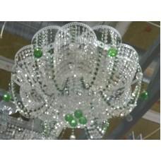 Люстра 6л лотос зеленый бел/фур
