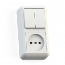 Блок комб. Electric-172 2-клав.+1роз. б/з белый