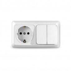 Блок комб. Electric-174 2-клав.+1роз. с/з белый GSL000174