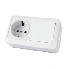 Блок комб. Electric-170 1-клав.+1роз. с/з белый GSL000170
