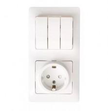 Блок комб. Electric-178 3-клав.+1роз. с/з белый GSL000178
