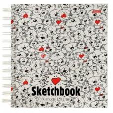 """""""Premium"""" Тетрадь SketchBook 80л А5ф 170х170мм 120г без линовки с твердой обложкой на гребне-Приколь"""