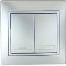 Выкл. Lezard mira 2кл.с/у металлик серый 701-1010-101