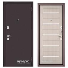 Дверь метал.Бульдорс Econom 860х2050R Правая Букле Шоколад/Ларче Бьянко/Лакобель Е-142