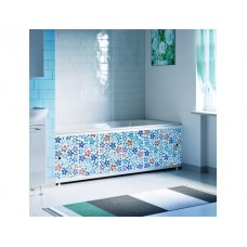 Экран к ванне 1,5м Декор Мозайка синяя 035