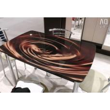 Стол обеденный Чикаго СТ МП 1100(1400)*680 (стекло Шоколад)+Гальваника 02