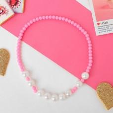 """Бусы детские """"Выбражулька"""" жемчужинка, цвет бело-розовый 996473"""